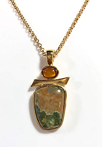 The Silver Sun Collections Sierra Art Works Genuine Amber Ryholite Necklace Set in 14K Gold vermail from Their Sierra Collection Hangs from an 18