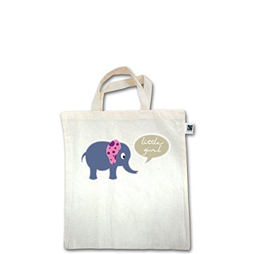Up to Date Kind - Elefant rosa little girl - Unisize - Natural - XT500 - Fairtrade Henkeltasche / Jutebeutel mit kurzen Henkeln aus Bio-Baumwolle