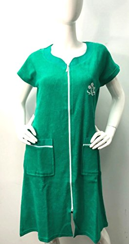 Brighton Robes Womens Turkish Terry Cotton Zipper Front Two Packets Robe Sleepwear Beach Dress (Medium, ()