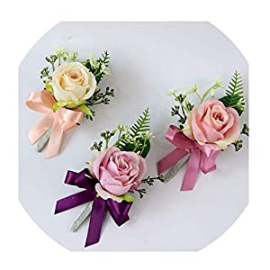 FAT BABY Wedding Corsages Silk Roses Flower Pink Wrist Corsages Groom Boutonniere Man Marriage Pins Wedding Supplies 88
