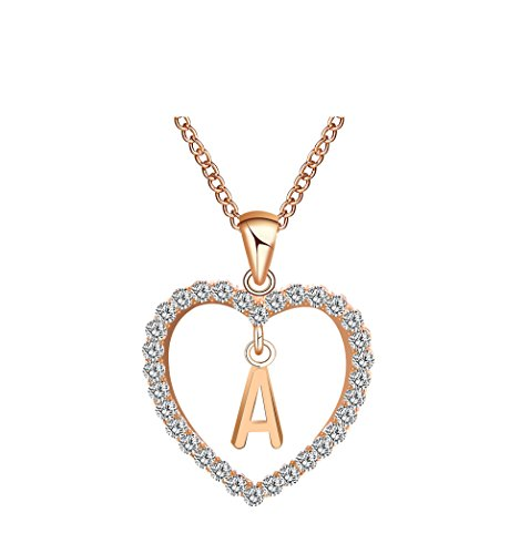 - Caopixx Ladies Pendant, Women Gift 26 English Letter Name Chain Pendant Heart Rhinestone Necklaces Jewelry Presents 2018 (A, Alloy)