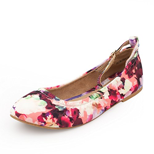 DREAM PAIRS Women's Sole-Fina-Straps Floral Ankle Straps Ballet Flats Shoes - 6.5 B(M) US