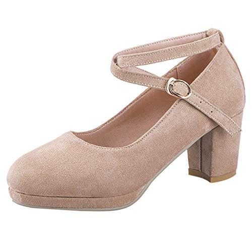 〓COOlCCI〓Women's Pumps,Women's Ankle Straps Marry Jane Ballerina Low Kitten Heels Chunky Pumps Shoes Heeled Sandals ()