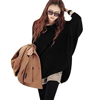 R REIFENG Ladies Scoop Neck Batwing Long Sleeve Slouchy Knit Shirt