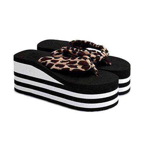 Voberry® Kvinnelige Sebra-stripe Sandal Plattform Kiler Flip Flops Hjem  Tøfler En