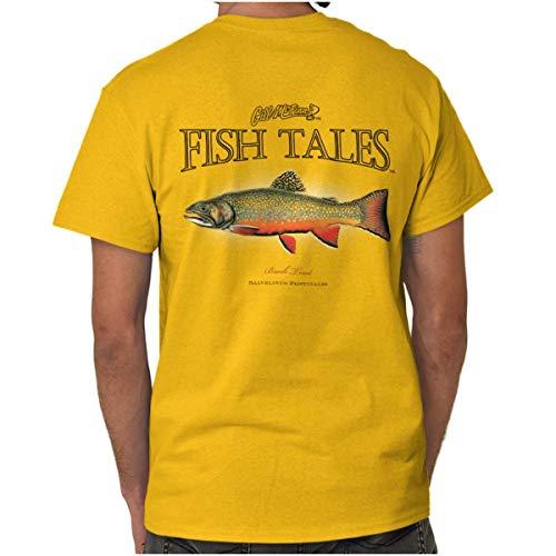 Fish Tales Brook Trout Deep Sea Fisherman T Shirt Tee Gold