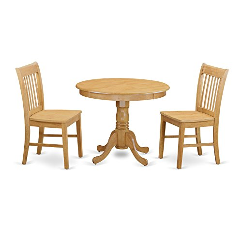 East West Furniture ANNO3-OAK-W 3 Piece Small Kitchen Table and 2 Dining Chair Set