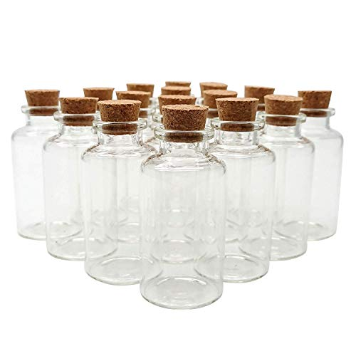 Axe Sickle 18PCS 20ml Cork Stoppers Glass Bottles, DIY Decoration Mini Glass Bottles Favors, Mini Vials Cork, Message Glass Bottle Vial Cork, Small Glass Bottles Jars Corks for Wedding Party Favors.