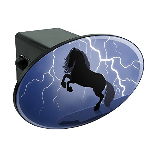 Black Friesian Horse Rearing Up in Storm Oval Tow Hitch Cover Trailer Plug Insert (Horse Hitch Cover)