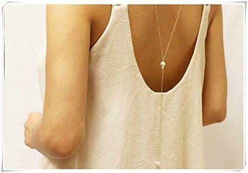 Necklace Backdrop (Bridal Jewelry, Backdrop necklace with Pearl,Pearl Back Necklace // Back chain for Back less dress)