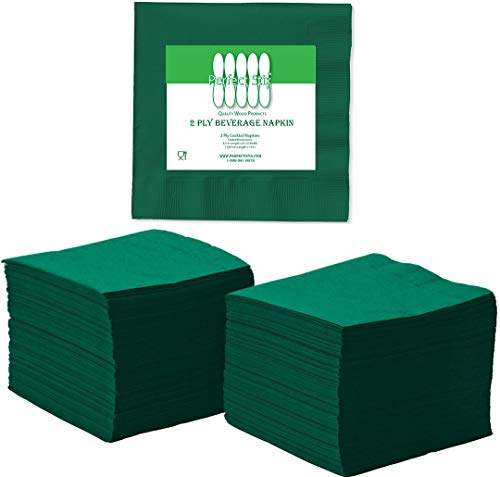 Perfect Stix 2 Ply Green Napkin-100 Paper Cocktail Beverage Napkins, 2-Ply, 2.5
