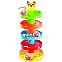 5 Layer Ball Drop and Roll Swirling Tower for Baby and Toddler Development Educational Toys   Stack, Drop and Go Ball Ramp Toy Set includes 3 Spinning Acrylic Activity Balls with Colorful Beads