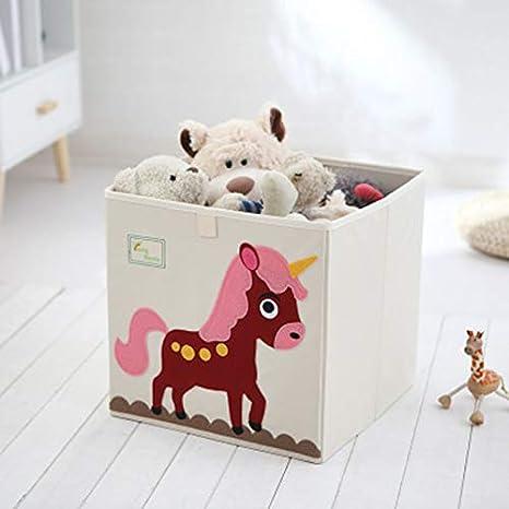 Cartoon Storage Cube Canvas Foldable Toy Storage Box for Kids