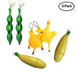 Finduat 6 Pack Two Novelty Squeeze Banana Toy Pop Out Banana Doll, Two Squeeze Chicken Laying Egg, Two Squeeze-a-Bean Soybean Key Chain Slow Rising Stress Relief Toys Gift