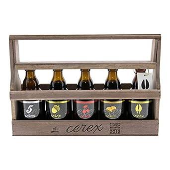 CEREX- Pack Degustación de 5 Cervezas Artesanas Españolas con caja regalo de presentación en madera – Cerveza de Cereza, Castaña, Ibérica de Bellota, ...