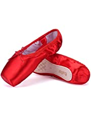 WENDYWU Girls Womens Dance Shoe Pink Ballet Pointe Slippers Ballet Flats Shoes with Ribbons Toe Pads Black Pink Red
