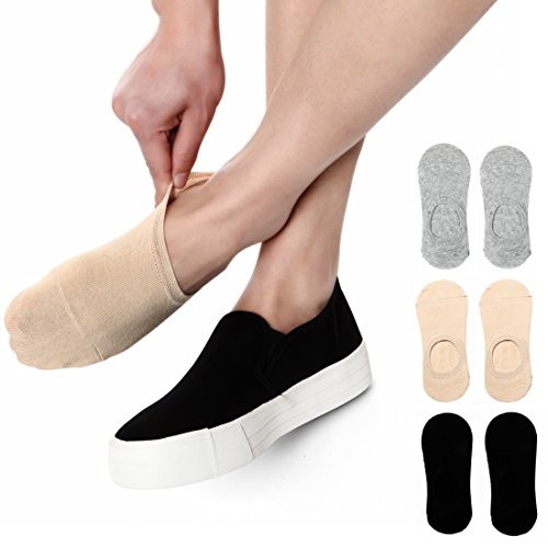 No Show Socks Women Low Cut With Non Slip Grip Casual Socks For Flat Boat Shoes 5 or 6 Pairs