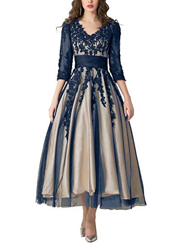 Tea Length Evening Dresses 2019 Manual Appliqued Empire Waist Pleated Tulle V Neck Party Gowns Work Dresses for Women Lomg Sleeves Formal Gown YW38 Navy Blue Size 6