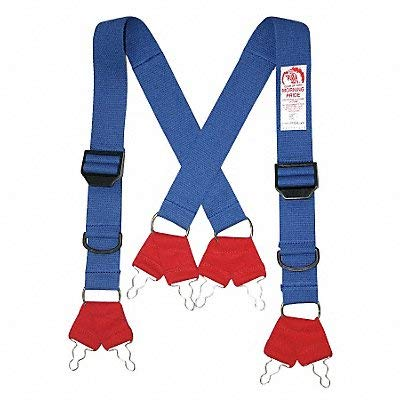 Morning Pride Fire Fighting Pant Suspenders, Blue/Red, Non Flame Resistant Cotton and Elastic Webbing, Long by Morning Pride