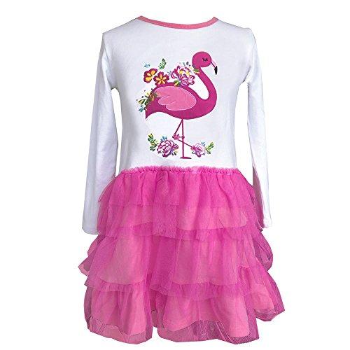 VIKITA Toddler Girl Flamingo Dress Winter Long Sleeve Tutu Party Dresses for Girls 3-7 Years, Knee-Length (LH4558, 4T)