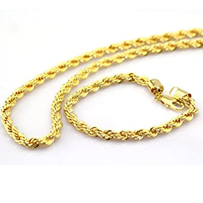 Twisted 24K Yellow Gold Plated Rope chain Necklace+Bracelet Sets Mens jewelry  set 24