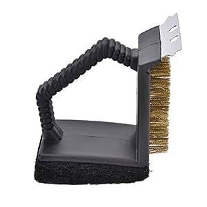 jiabetterniu 1pcs cepillo de barbacoa 3en 1, durable y eficaz rasqueta, cesta de alambre de acero inoxidable barbacoa Grill cepillo cerdas