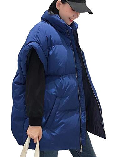 Donne In Maniche Giù Senza Cotone Gocgt Cappotto Blu Giacca Zipper Giubbotti rZIxwqRnZ6
