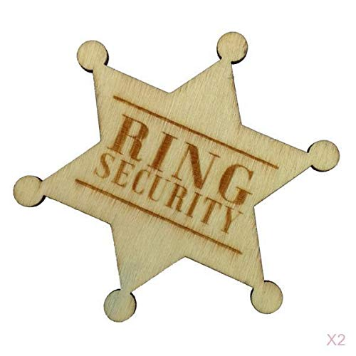 Baoblaze 2pcs Ring Security Badge Pin Legno Ring Bearer Page Boy