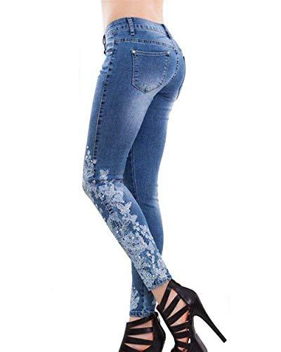 Pantaloni Ricamo Aderenti Casual Comodo Stretch Attillati Jeans A Vintage Battercake Con Alta Vita Da Hellblau Donna gROp4x