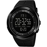 alignmentpai Men's Wrist Watch Sports Round Dial Date Display Backlight Electronic Digital Watches Black