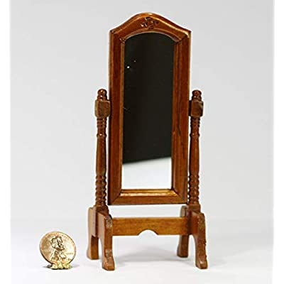 Dollhouse Miniature 1:12 Scale Traditional Cherry Wood Floor Standing Mirror: Toys & Games