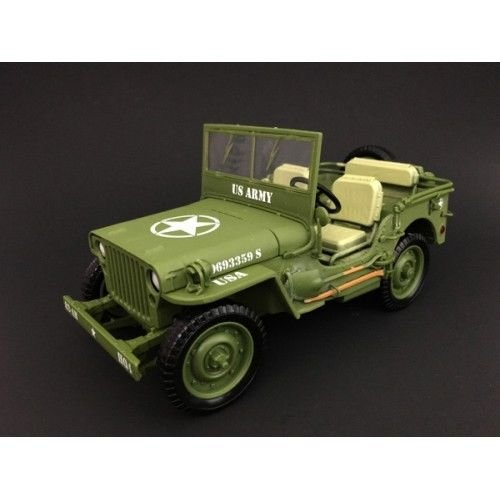 American Diorama US Army WWII Jeep Vehicle Green 1/18 Diecast Model Car