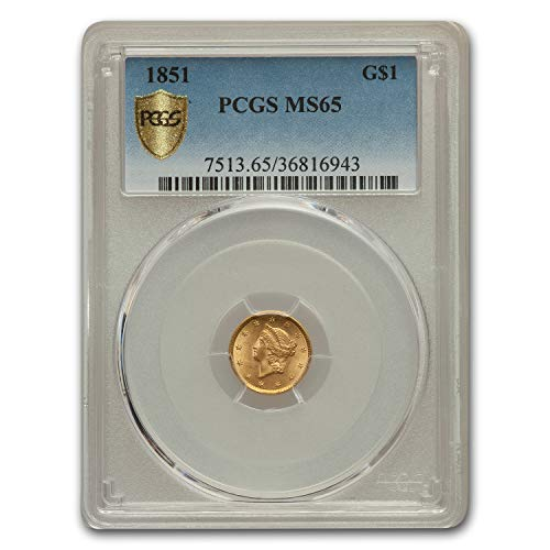 - 1851 $1 Liberty Head Gold MS-65 PCGS Gold MS-65 PCGS