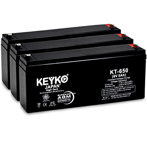 Carpenter Watchman 610518 6V 5Ah Replacement Battery SLA Sealed Lead Acid Rechargeable AGM Genuine KEYKO ® (W/ F-1 Terminal) - 3 Pack