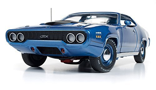 Diecast Blue Metallic Car (Autoworld AMM1065 1971 Plymouth GTX Hardtop Blue Metallic Limited Edition to 1002pcs 1/18 Diecast Model Car)