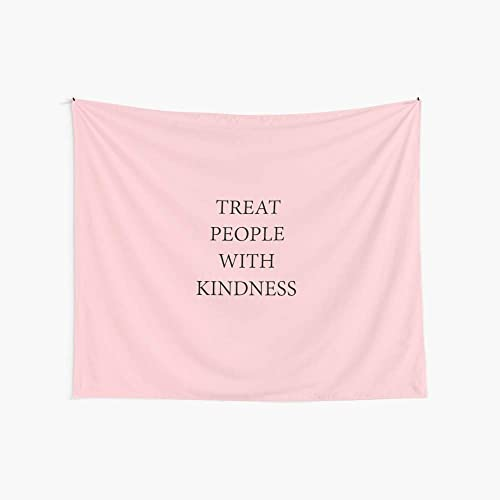 Noick Treat People with Kindness 3D Boutique Wall Tapestry Pop Art Retro Micro Microfiber Peach Peach Home Decoration 59.1X51.2 in