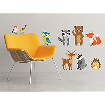 Forest Animals Fabric Wall Decals, Set of 9 Animals including Birds, Owl, Bear and More - Removable, Reusable, Respositionable