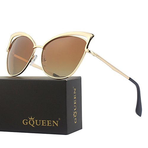 GQUEEN Women's Oversized Polarized Metal Frame Mirrored Cat Eye Sunglasses - Polarized Cat 3