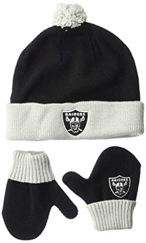 OTS NFL Oakland Raiders Toddler Pow Pow Knit Cap & Mittens Set, Team Color, Toddler