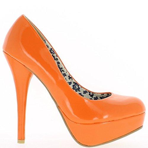 Tacco polacco di scarpe nero donna ago 13,5 cm e piattaforma