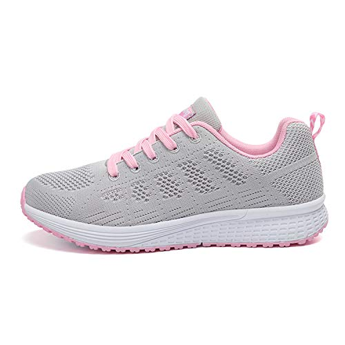 The small cat Women Sneakers Breathable Mesh Womens Running Shoes Lightweight Sport Shoes,Light Grey Pink,8.5