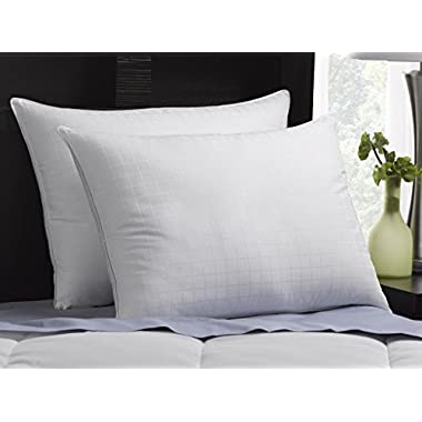 Luxury Plush Down-Alternative Hotel Luxe Pillows 2-Pack, King Size, Gel-Fiber Filled Pillows - Hypoallergenic, 100% Cotton Shell With Windowpane Pattern - SOFT Density, Ideal For Stomach Sleepers