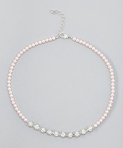 (Luxury Sparkly Sterling Silver Child Necklace made with Pink and White Swarovski Crystals and Pearls (NSWP))