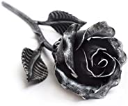 Hand Forged Iron Rose Sculpture - Gift of Everlasting Love - Wrought Steel Flower