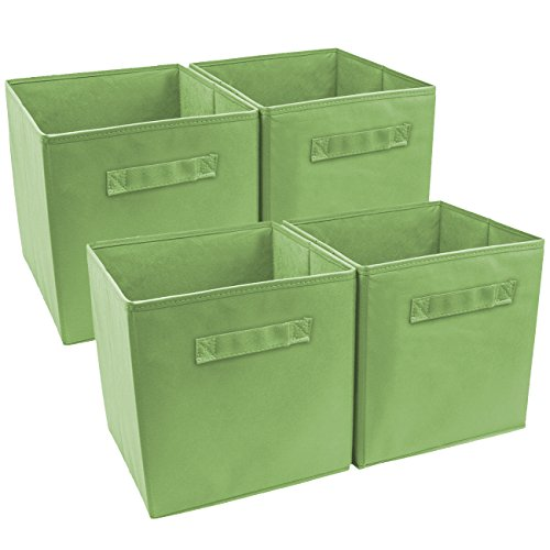Sorbus Foldable Storage Cube Basket Bin (4 Pack, Green) ()