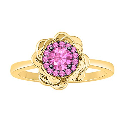 (tusakha Womens Fashion 14K Yellow Gold Over .925 Sterling Silver Pink Sapphire Cluster Flower Ring)