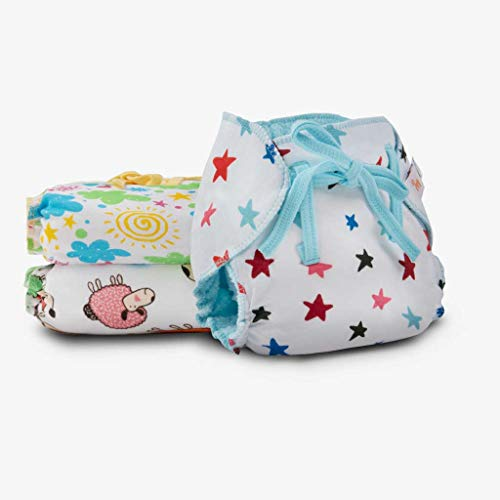 SuperBottoms Dry Feel Langot – Pack of 3-Organic Cotton Padded langot with Gentle Elastics & a SuperDryFeel Layer on top (Printed, Size 0)