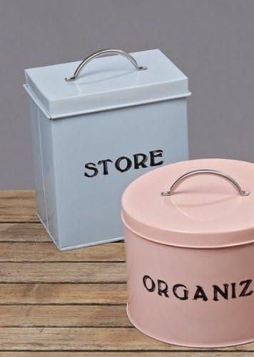 Caja de diseño con asa azul claro - Store - caja metálica diseño Vintage: Amazon.es: Juguetes y juegos