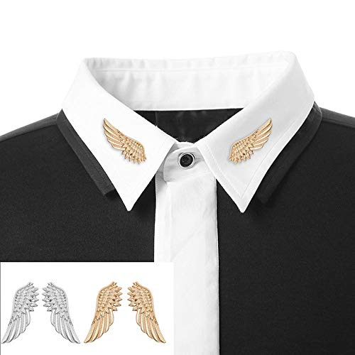 - MINGHUA Elegant Angel Wings Feather Suit Pin Collar Pin Brooch for Unisex (Gold)