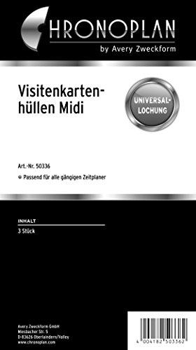 Chronoplan 50336 Zubehör Visitenkartenhüllen Midi, 3 Stück, transparent